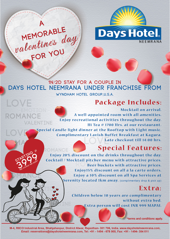 The Valentine's Day Offer from Days Hotel Neemrana - Days